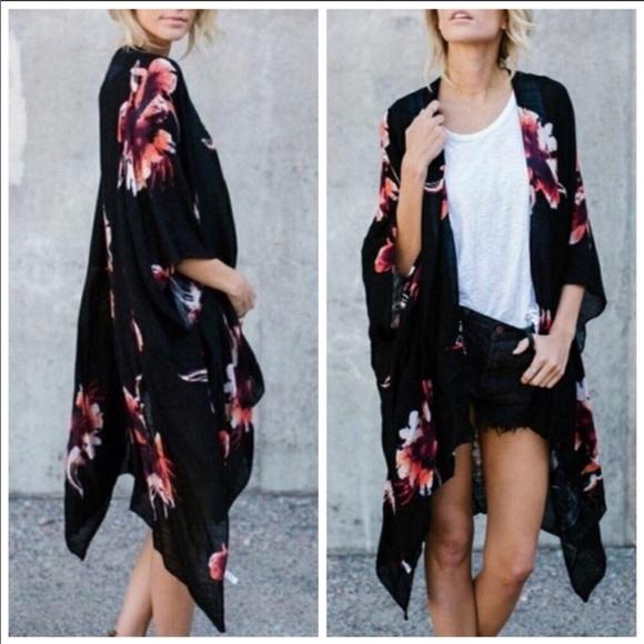 fc13f1ff7 Couture Gypsy Accessories | Black Floral Print Kimono | Poshmark